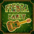 Mexican fiesta party invitation with mexican guitar and colorful ethnic tribal ornate title hand drawn vector illustration poster Royalty Free Stock Photography