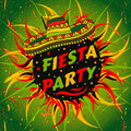 Mexican Fiesta Party label with sombrero and confetti .Hand drawn vector illustration poster with grunge background. Royalty Free Stock Photo