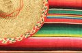 Mexican fiesta poncho rug in bright colors with sombrero traditional background copy space and chilli Stock Image