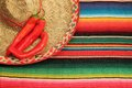 Mexican fiesta poncho rug in bright colors with sombrero traditional background copy space and chilli Royalty Free Stock Images