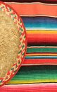 Mexican fiesta poncho rug in bright colors with sombrero traditional background copy space and trumpet Royalty Free Stock Image