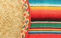 Mexican fiesta poncho rug in bright colors with sombrero traditional background copy space and trumpet Stock Image