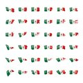 Mexican flag, vector illustration on a white background. Royalty Free Stock Photo