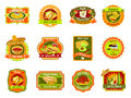 Mexican food emblem set traditional cafe restaurant and bar flat bright color vector illustration Royalty Free Stock Photos