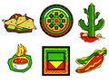 Mexican food icons Royalty Free Stock Photo