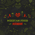Mexican food menu template. Vector vintageillustration for , poster on dark background. with place text