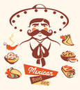 Mexican food and mexican man Royalty Free Stock Photo