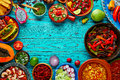 Mexican food mix colorful background Mexico Royalty Free Stock Photo