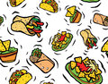 Mexican food seamless pattern tasty burrito fajitas nachos guacamole dip Stock Images