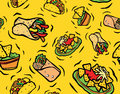 Mexican food seamless pattern tasty burrito fajitas nachos guacamole dip on yellow Royalty Free Stock Photography