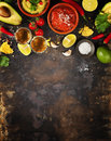 Mexican food and tequila shots Royalty Free Stock Photo