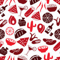 Mexican food theme set of icons seamless red pattern eps10 Royalty Free Stock Photo