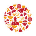 Mexican food theme set of simple icons in circle eps10 Royalty Free Stock Photo