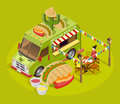Mexican Food Truck Isometric Advertisement Poster