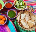 Mexican food varied chili sauces nachos lemon Stock Photography