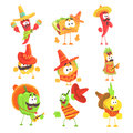 Mexican Food And Vegetables Series OF Cool Cartoon Characters In National Clothes With Guitars And Maracas, Smiling And
