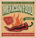 Mexican food vintage poster for retro vector design template for restaurant on old paper texture Royalty Free Stock Photo