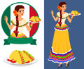 Mexican girl with taco Royalty Free Stock Photo