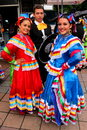 Mexican girls and man dressed in traditional costume at international folklore festival hercules from baile herculane romania Royalty Free Stock Images