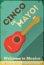 Mexican guitar posters in retro style cinco de mayo illustration Stock Photography