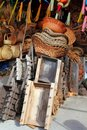 Mexican handcrafts basketry wood carts pinatas Stock Images