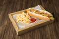 Mexican hot dog on the table Royalty Free Stock Photo