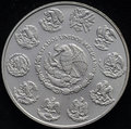 Mexican libertad silver coin ounce on black background Royalty Free Stock Images