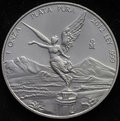 Mexican libertad silver coin ounce on black background Royalty Free Stock Photography