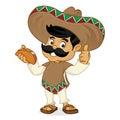 Mexican man cartoon eating taco