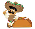 Mexican man cartoon leaning on taco