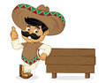 Mexican man cartoon leaning on wood plank