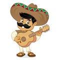 Mexican man cartoon playing guitar