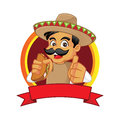 Mexican man holding taco and giving thumb up Royalty Free Stock Photo