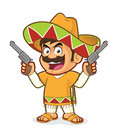 Mexican man holding two guns Royalty Free Stock Photo