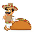 Mexican man leaning on taco Royalty Free Stock Photo