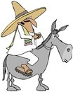 Mexican man riding a donkey this illustration depicts wearing sombrero and sandals on Stock Photos
