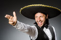 Mexican man wears sombrero isolated on white Royalty Free Stock Photo