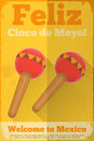 Mexican maraca maracas posters in retro style cinco de mayo illustration Stock Photo