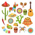 Mexican national symbols. Vector design elements for Cinco de Mayo holiday. Fiesta, celebration, party icons