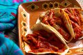 Mexican nopal cactus tacos with guajillo red sauce on wooden background Royalty Free Stock Photo