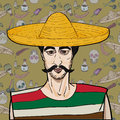 Mexican over pattern cinco de mayo hand drawn cartoon illustration of a man with mustache and sombrero a background with Royalty Free Stock Image