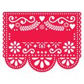 Mexican Papel Picado template design - traditional red pattern with blank text