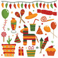 Mexican party elements Royalty Free Stock Images