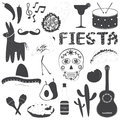 Mexican party icons vector illustrations set style for decorate on your job Stock Photos