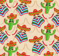 Mexican pattern with cactus hat and chill illustration over background Royalty Free Stock Images