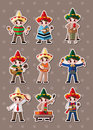 Mexican people stickers Royalty Free Stock Photo