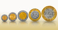 Mexican peso coin growth graph coins growing in value and size Royalty Free Stock Images