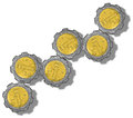 Mexican peso gears growing like a graph Royalty Free Stock Images