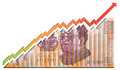 Mexican peso growth bill graph growing through a Stock Image