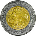 Mexican peso pesos gold and silver coin obverse with the national shield and lettering estados unidos mexicanos isolated Royalty Free Stock Image
